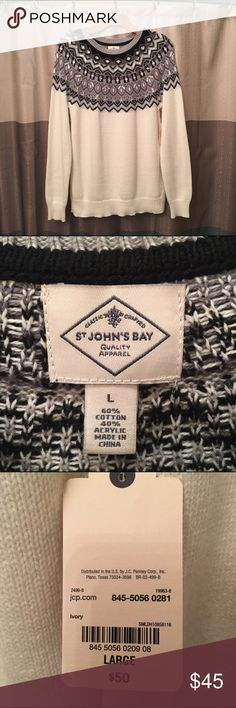 St. John's Bay • Beaded Fairisle Sweater ⛔️ - NWT - Cute for Winter - Beaded fair isle Print. Smoke free home. Please submit offers with offer button. jcpenney Sweaters Crew & Scoop Necks