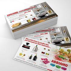 Kitchenware and cooking utensils flyer design and print for Abbiamo. #kitchenware #cookingutensils #cookwareflyers