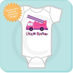 Little Sister Fire truck Onesie  Pink and by ThingsVerySpecial