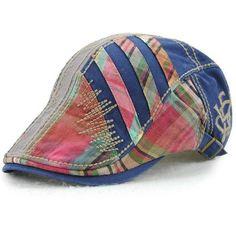 Women Men Cotton Washed Beret Cap Lines Stripe Adjustable Buckle Newsboy  Cabbie Hat 7f8104f8afba
