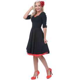 Unique Vintage Black Three-Quarter Sleeve Cocktail Dress