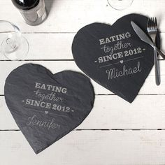Engraved Set Of Slate Placemats - Eating Together | GettingPersonal.co.uk