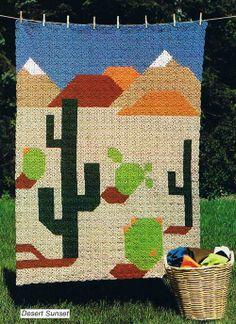 Desert Sunset Crochet Afghan Blanket