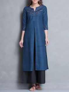 Blue Zari & Thread Embroidered Yoke Matka Silk Kurta