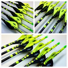 "Custom ""splash"" paint scheme in Black and Metallic Silver set on a Flo Yellow dip by Pass Thru Custom Arrows"