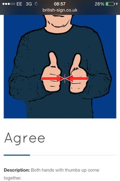 Agree Sign Language Words, Sign Language For Kids, Language Dictionary, Sign Language Alphabet, Learn Sign Language, British Sign Language, Second Language, Spanish Language, Learn Bsl