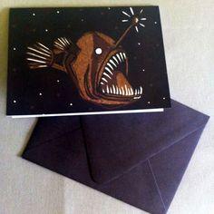 Anglerfish Card by PufferfishPress on Etsy, $4.00