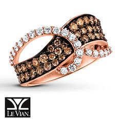 Round Vanilla Diamonds® swirl over a wave of Chocolate Diamonds® flowing across this decadent ring for her. Crafted of 14K Strawberry Gold®, the ring has a total diamond weight of 1 1/8 carats. Le Vian®. Discover the Legend. Diamond Total Carat Weight may range from 1.115 - 1.14 carats.
