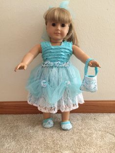 Blue dress, American Girl clothes, 18 in doll clothes