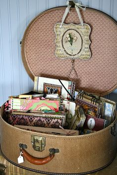You can get a small suitcase for your Grandkids and make it into a gift basket to take home....so many ideas...or a Birthday gift of a Barbie and Homemade clothes....old fashioned idea...but so much fun....or for your sister...a memory gift basket...