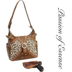 "Casual Western Concealed Carry Purse  Features faux leather tooled paisley body with faux leopard inlay; zippered main compartment; 2 exterior side pockets; interior zippered pocket; 2 storage pockets; 2 gun pocket zippers for right or left hand draw; 1 gun holster; and polished chrome hardware. Measures 10-1/2"" x 9-1/2"" x 5"". Casual Outfitters Bags Satchels"