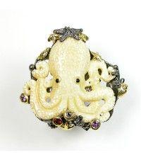 Bone Octopus and Gemstone Earrings on AmyKahnRussell.com