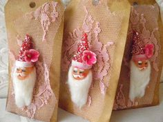 Vintage pink santa gift tags_Dollie's Daughter
