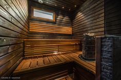 Finnish sauna. Aspen House, Finnish Sauna, Saunas, Small Rooms, Dark Colors, Blinds, Spa, Relax, Stairs