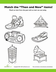 First Grade History Life Learning Worksheets: Items from the Past 2 # ...