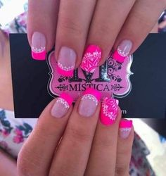 34 Trendy Ideas For Pedicure Ideas Neon Summer Colors 34 Trendy Ideas For Pedicure Ideas Neon Summer Colors Pink Manicure, Pink Acrylic Nails, Pedicure Nail Art, Toe Nail Art, Pedicure Ideas, Fancy Nails, Bling Nails, Glitter Nails, Gorgeous Nails