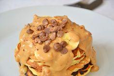 Banana & Chocolate Pancakes with Peanut Butter Sauce