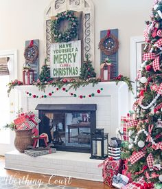 Farmhouse Christmas mantel decorated with traditional red and green || Worthing Court