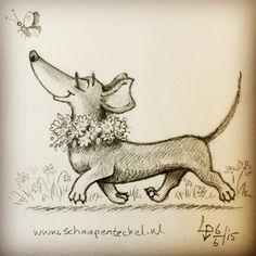 The Coloured Leaf Mini Dachshund, Daschund, Weenie Dogs, Doggies, Little Dogs, Dog Art, Fur Babies, Cute Dogs, Dog Lovers