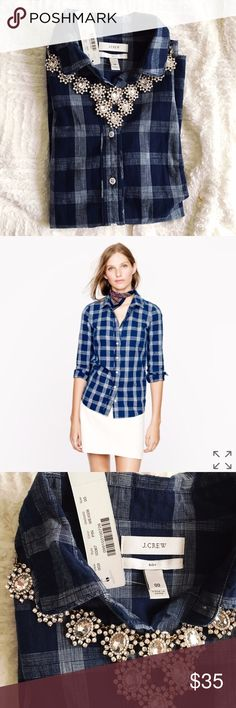 J. Crew Boy Shirt in Indigo Blue NWT! Size 00 but fits like a small. Style # 03367 J. Crew Tops Button Down Shirts
