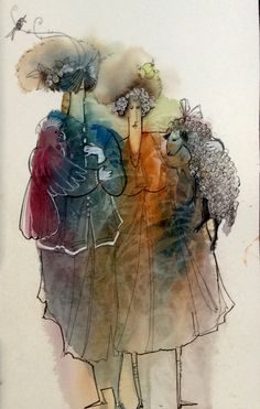 Watercolor and line Watercolor And Ink, Watercolor Tattoo, Watercolor Paintings, Watercolors, Pen And Wash, People Art, Clip Art, Graphic Design, Rye
