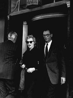 Marilyn and Arthur Miller in London, 1956.