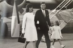 Jack with Jackie and Caroline on their return from a vacation in Italy. August 31, 1962. Quonset Point Naval Air Station, RI.