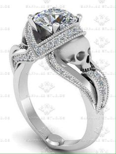 A Different Decision: Skull Wedding Rings Skull Jewelry, Jewelry Box, Skull Rings, Jewlery, Skull Wedding Ring, Wedding Rings, Gothic Engagement Ring, Gothic Rings, Unique Settings