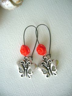 silver butterflies earrings with a red rose, retro