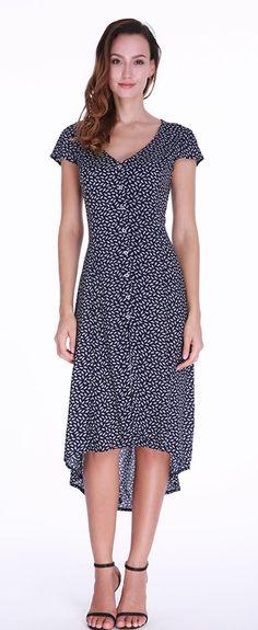 41cedb04f9597 Print Irregular V-neck Short Sleeve Maxi Dress For Women is high-quality