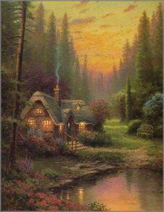 "Meadowood Cottage-Thomas kinkade Art print on canvas 12x16""free shipping"