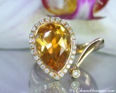 Citrine diamonds ring yellow gold 750