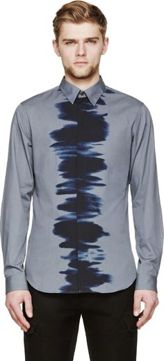Calvin Klein Collection Grey & Black Water Print Button-Up Shirt