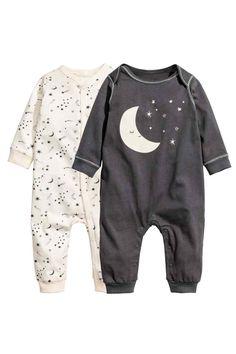 2-pack jersey pyjama suits - Dark grey/Moon - Kids | H&M GB 1