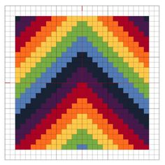 cross stitch rainbow chevron