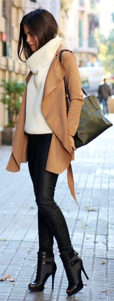 #winter #outfits brown draped cardigan