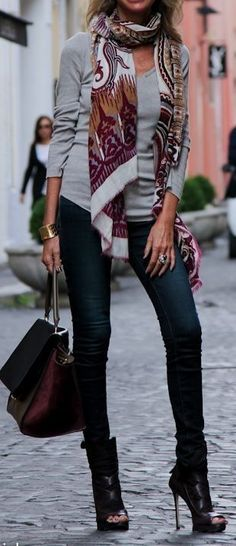 #fall #fashion / pattern print scarf + gray knit