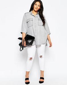 Image 4 of ASOS CURVE Denim Boyfriend Slouch Shirt