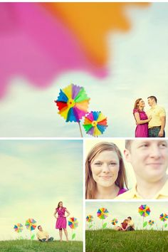 Engagement Photos: Jen and Richard's Colorful Pinwheel Engagement PhotosTheKnot.com -