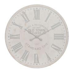 """Ronde klok """"Old Town"""" in wit/grijs hout. Dia 60 cm € 92,99   Te koop bij Meubelen Jonckheere.  Nieuwe Baan 111 9111 Belsele"""