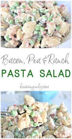 Creamy Bacon Pea and Ranch Pasta Salad – Quick and Easy Side Dish Recipe – Simple, Fast and Perfect for Potlucks, Barbecues and Holiday Cookouts – Dreaming in DIY Easy Pasta Salad, Pasta Salad Recipes, Side Dishes Easy, Side Dish Recipes, Pasta Salat, Lunch Snacks, Food Dishes, Cooking Recipes, Chef Recipes