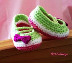 Pink with White and Green handmade crochet baby by TheCCVillage, £6.00