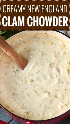 Clam Chowder Soup, Clam Chowder Recipes, Seafood Soup, Seafood Dishes, Crockpot Clam Chowder, Thick Clam Chowder Recipe, Fish Chowder Recipe New England, Homemade Clam Chowder, Gastronomia