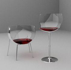 Gosta de vinho? Que tal essas cadeiras em formato de taças? O assento vermelho deu um destaque ainda mais especial! #design #vidro