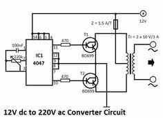 Circuito de inversor de 12 VDC Voltios a 220 VAC.