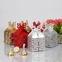 Double Happiness Cut–out Favor Box With Butterfly Top (Set of 12) – USD $ 4.79
