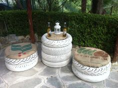 So cute...replace with waterproof outdoor fabric and this is perfect for my patio! And I think I have enuf tires;-)