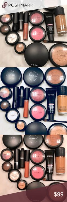 MAC COSMETICS MAKEUP LOT 💕✨💋 This is a gently used MAC COSMETICS MAKEUP LOT 💕✨💋 I'm a professional makeup artist clearing out my kit of things I don't reach for regularly. Most products are barely used. Lipgloss is new💋 Blushes, Primer, eye shadow quad, pressed care blend, and mineralize skin finish have all only been used once.  Included are  ❌Two Blushes ❌One Primer ❌Two Lipsticks  ❌One Concealer Pot ❌Two Eye Shadow Quads ❌ Two Mineralize Skin Finishes ❌Studio Fix ❌Careblend Pressed…
