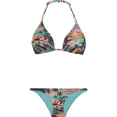 Orlebar Brown Nicola and Barletta printed triangle bikini (150 AUD) ❤ liked on Polyvore featuring swimwear, bikinis, pink, bikini swimwear, orlebar brown, pink bikini, bikini two piece and triangle swimwear