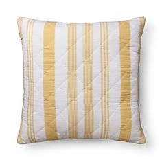 """• Quilted fabric<br>• Measures 26""""x26""""<br><br>Toss the Stripes Euro Throw Pillow (26""""x26"""") in Yellow from Pillowfort on the sofa for a pop of color. This oversized accent pillow has a variety of yellow stripes with a soft quilted cover."""